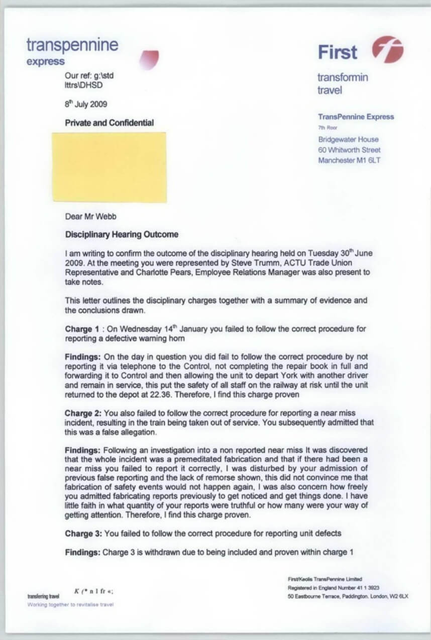 Disciplinary Hearing Outcome Letter - Transpennine Express With Regard To Investigation Report Template Disciplinary Hearing