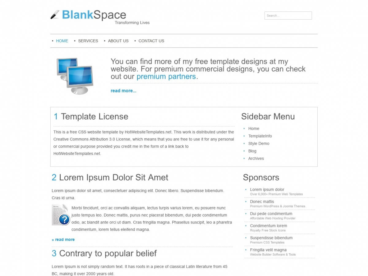 Download Free Html/css Template: Blankspace – Free Html Regarding Blank Html Templates Free Download