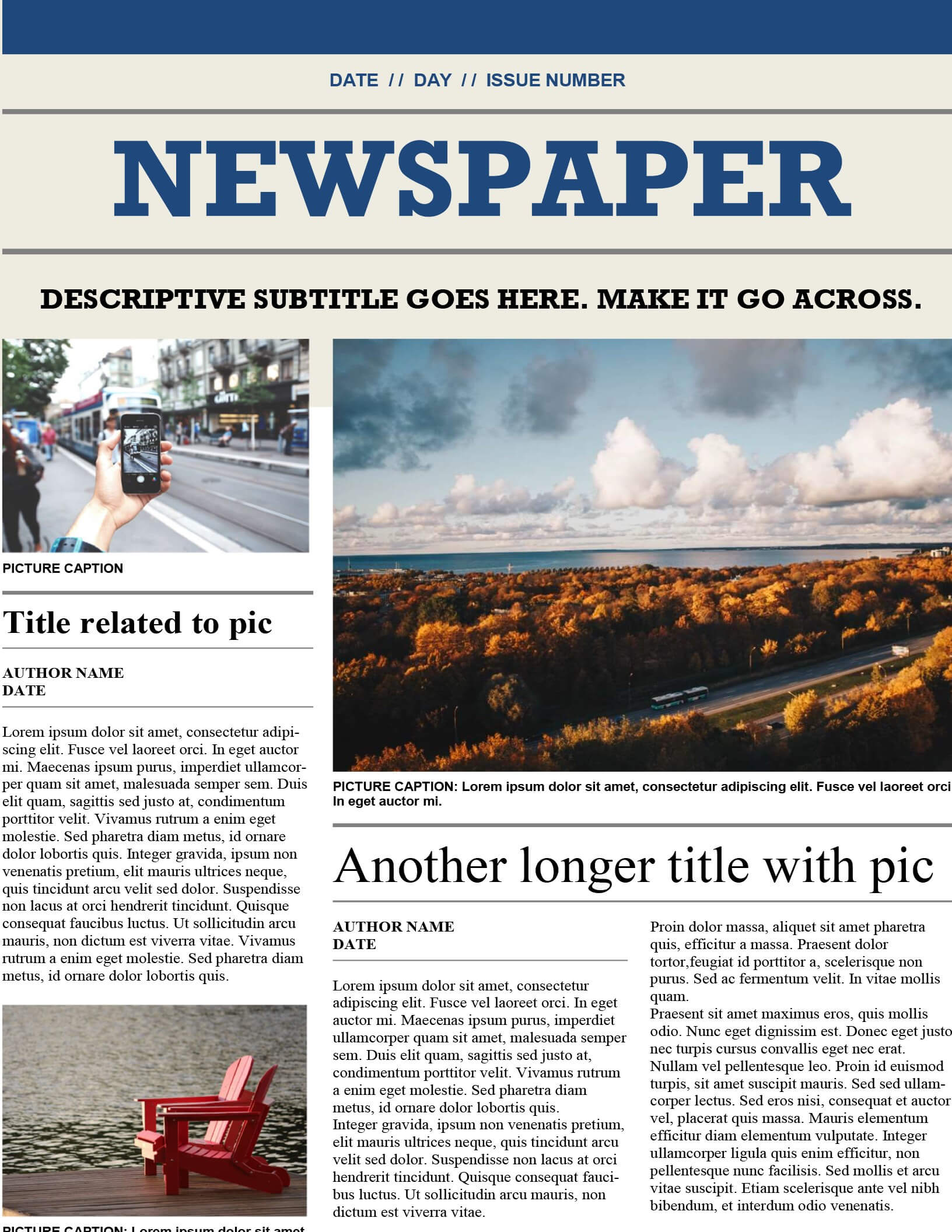 Downloadable Newspaper Template – Colona.rsd7 In Blank Newspaper Template For Word