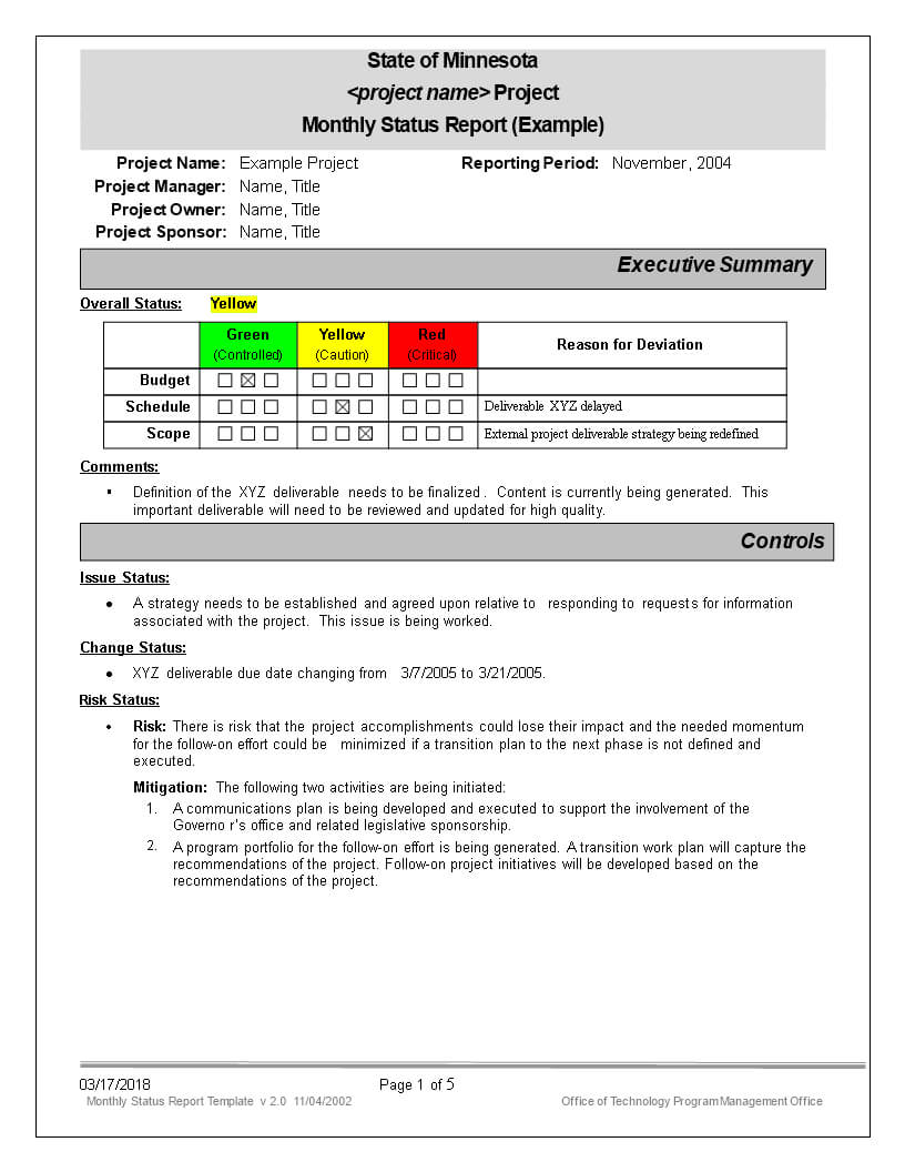 免费Monthly Status Report | 样本文件在Allbusinesstemplates Intended For Monthly Status Report Template Project Management