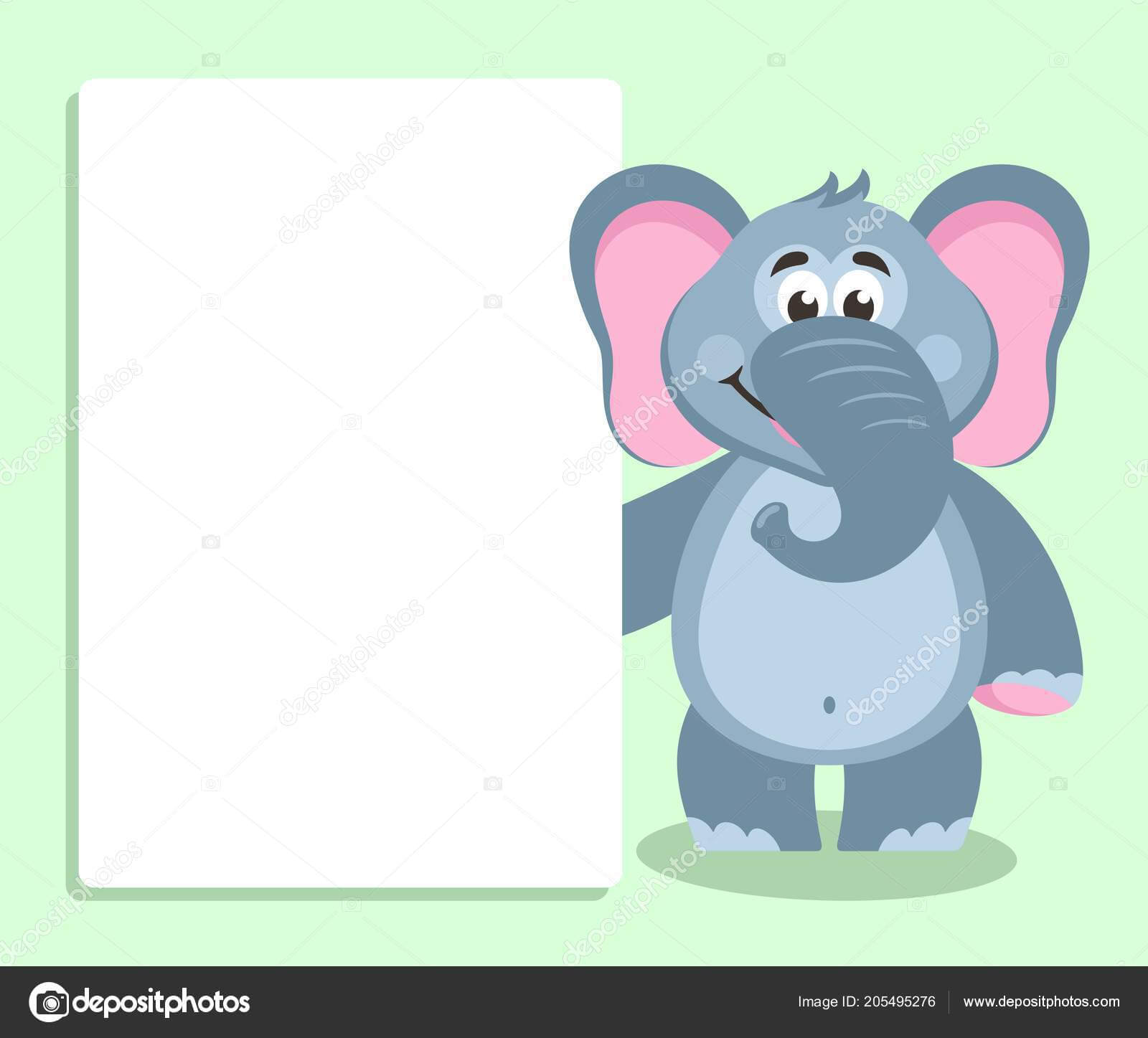 Elephant White Board Template Your Text Cartoon Character Inside Blank Elephant Template