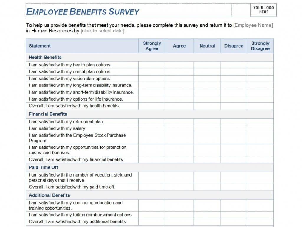 Employee Benefits Survey Template   Employee Benefits Survey Pertaining To Employee Satisfaction Survey Template Word
