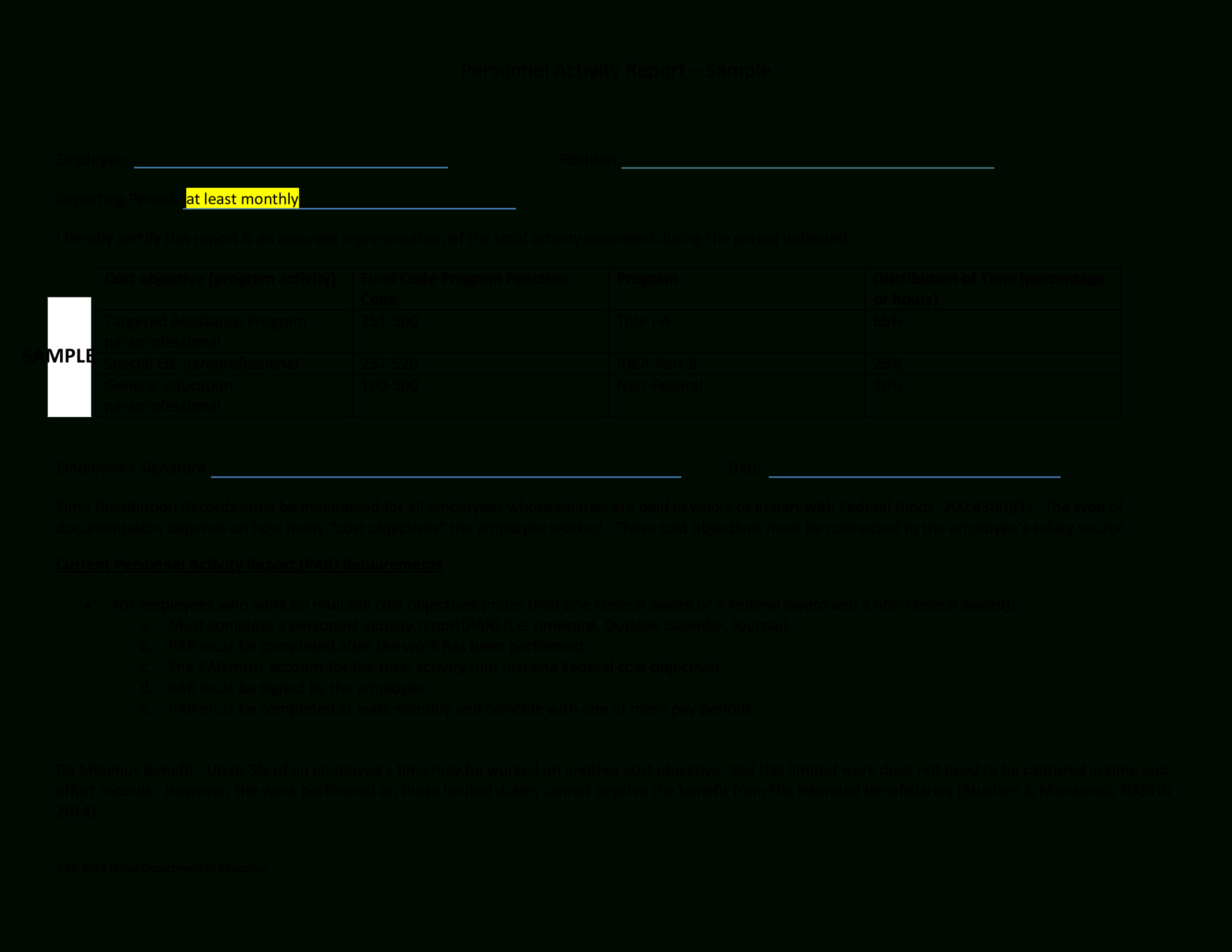 Employee Monthly Activity Report | Templates At With Regard To Monthly Activity Report Template