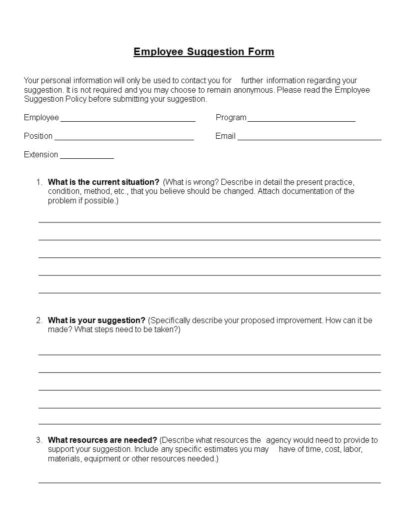 Employee Suggestion Form Word Format | Templates At Within Word Employee Suggestion Form Template