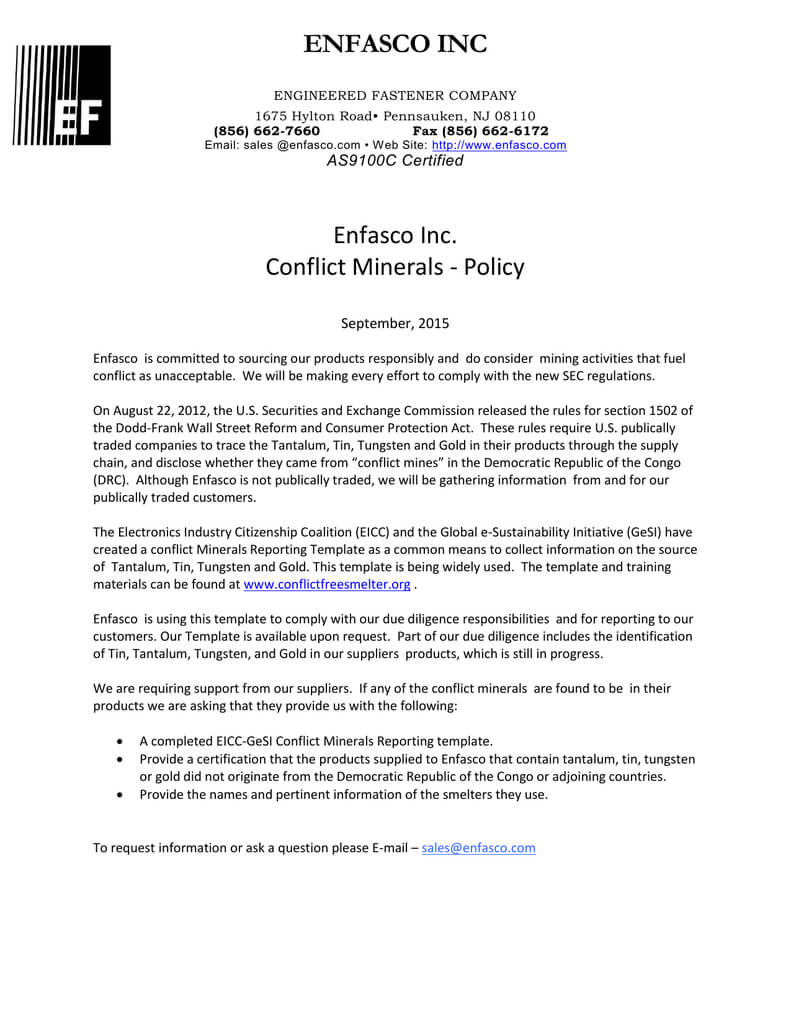 Enfasco Inc Enfasco Inc. Conflict Minerals - Policy In Eicc Conflict Minerals Reporting Template
