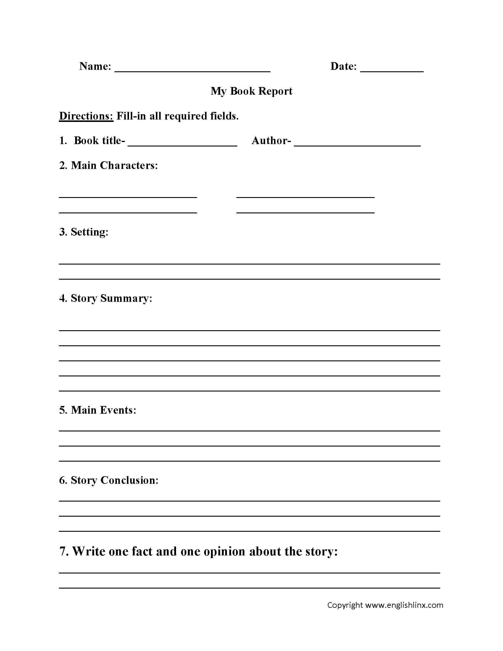Englishlinx | Book Report Worksheets For 6Th Grade Book Report Template