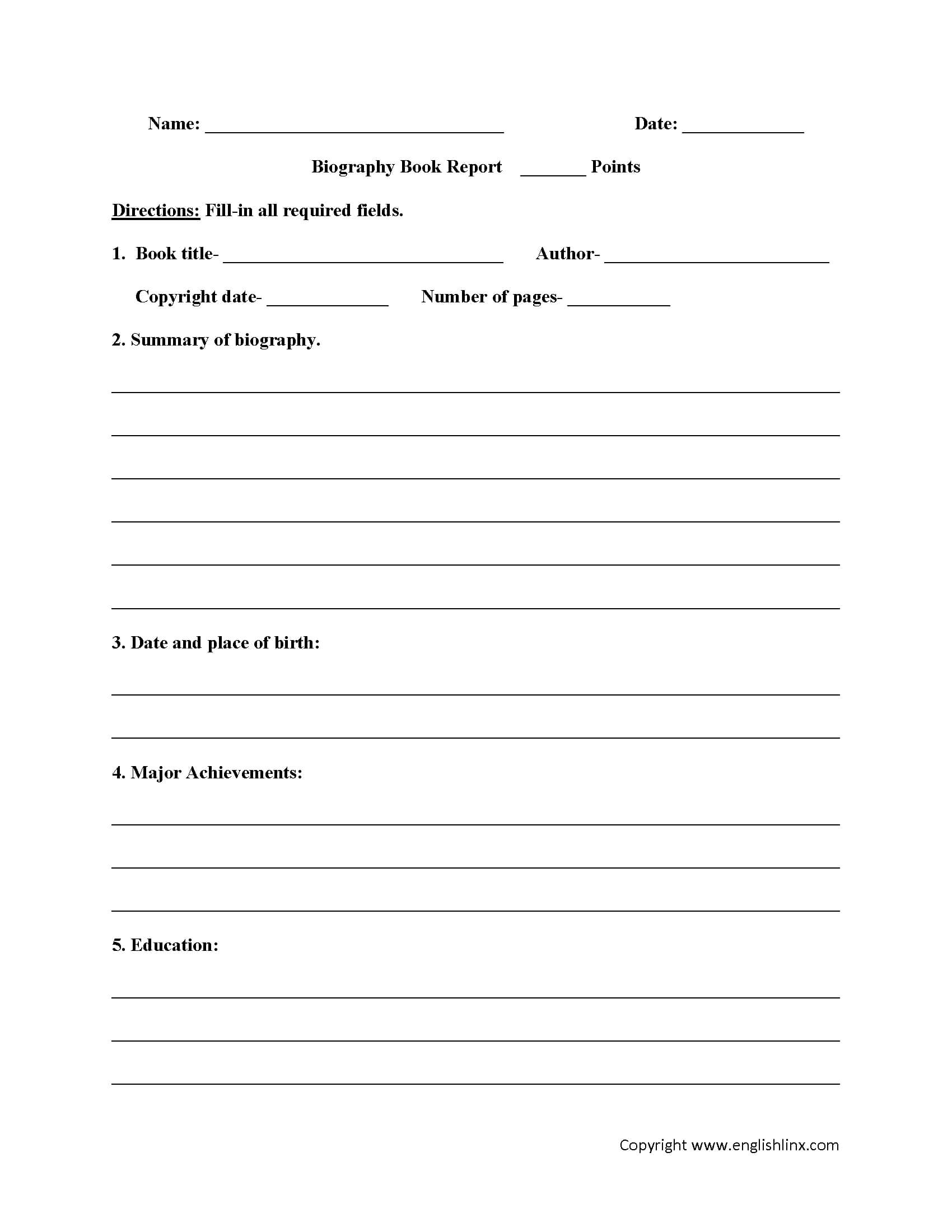Englishlinx   Book Report Worksheets With 1St Grade Book Report Template
