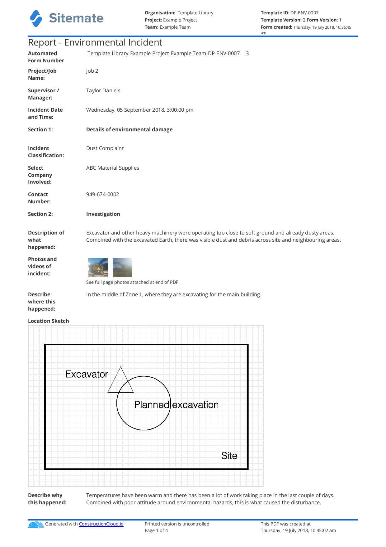 Environmental Incident Report Form – Tunu.redmini.co Regarding Ohs Incident Report Template Free