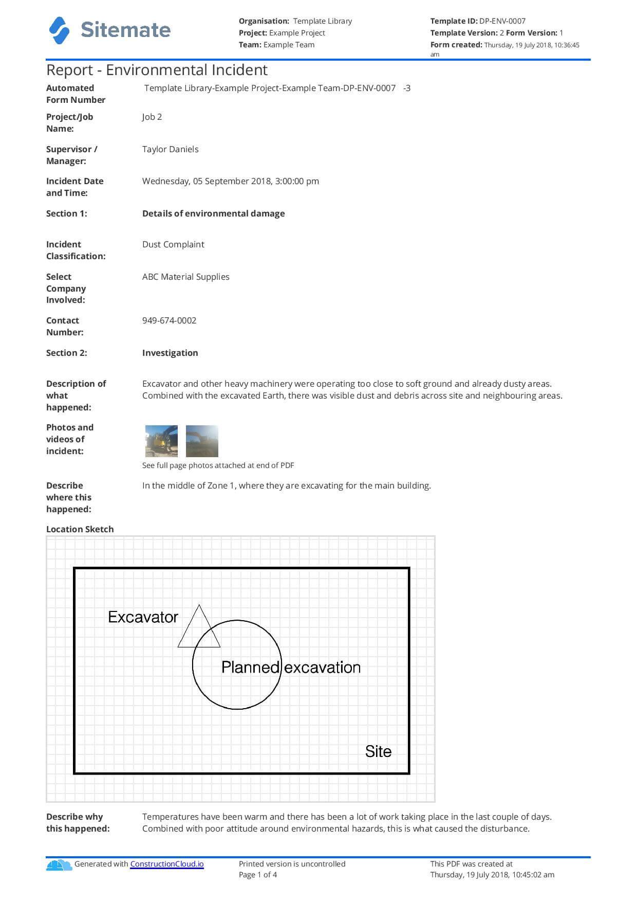 Environmental Incident Report Form – Tunu.redmini.co With Incident Report Form Template Doc