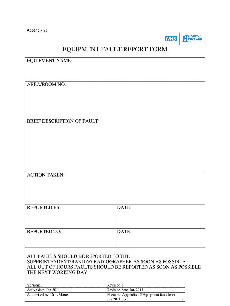 Equipment Fault Report - Fill Online, Printable, Fillable Throughout Equipment Fault Report Template