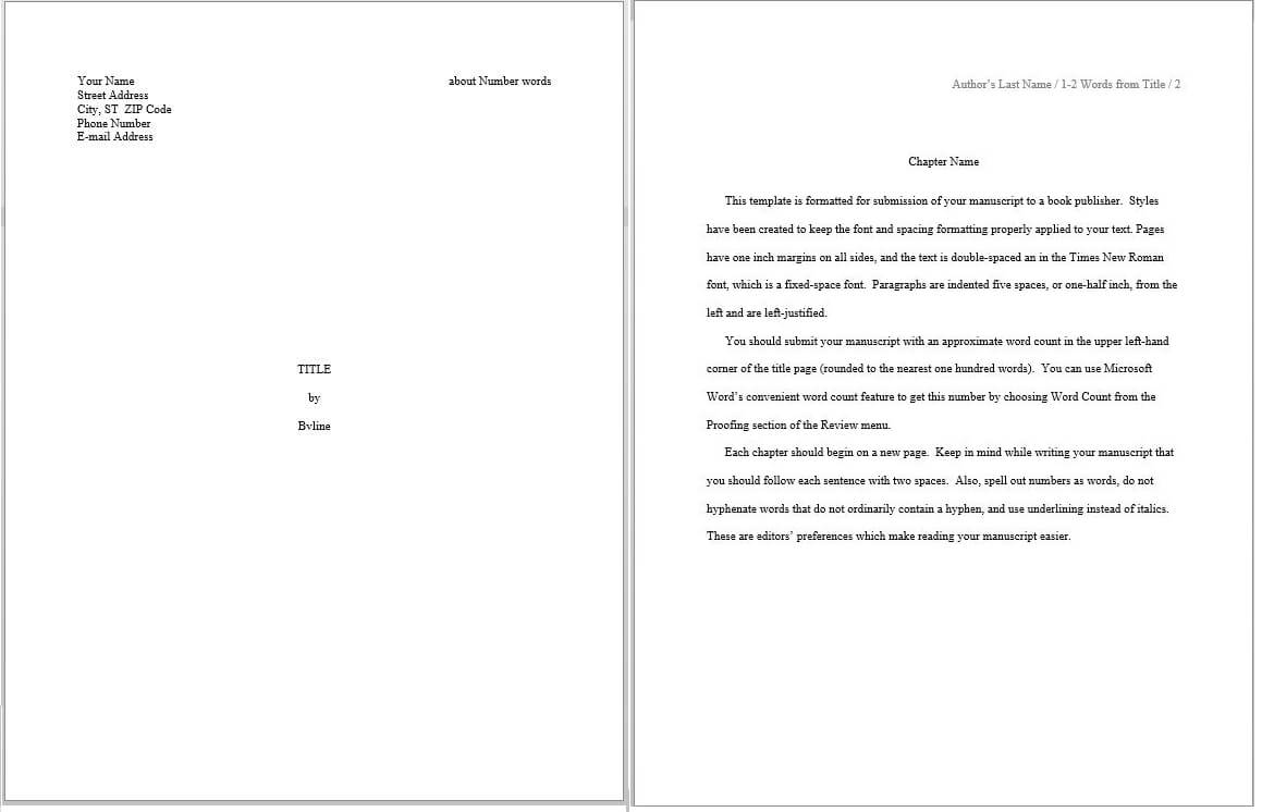 Evaluating Predefined Manuscript Templates In Word – S. K. Throughout How To Create A Book Template In Word