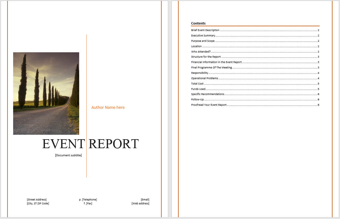 Event Report Template - Microsoft Word Templates Intended For Simple Report Template Word