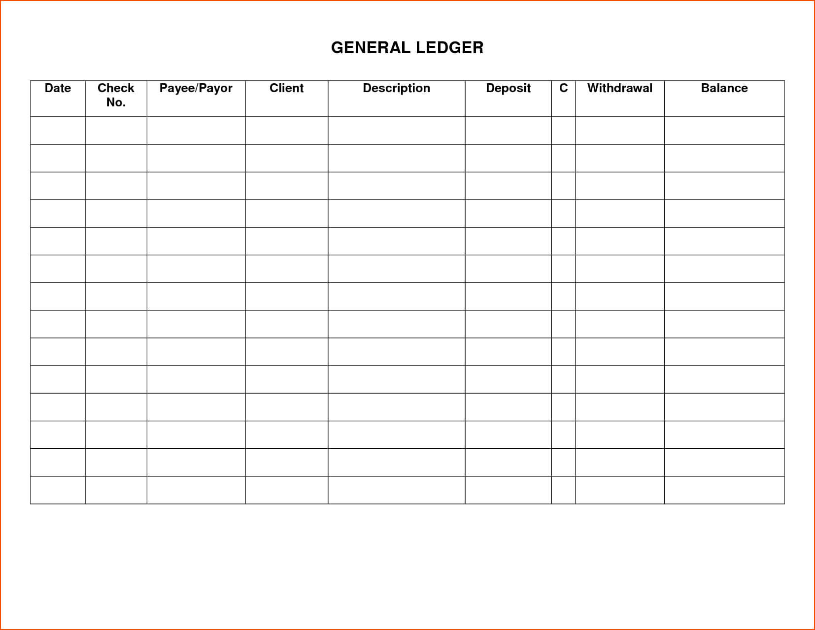 Excel Template Accounting Ledger   Sample Customer Service Inside Blank Ledger Template