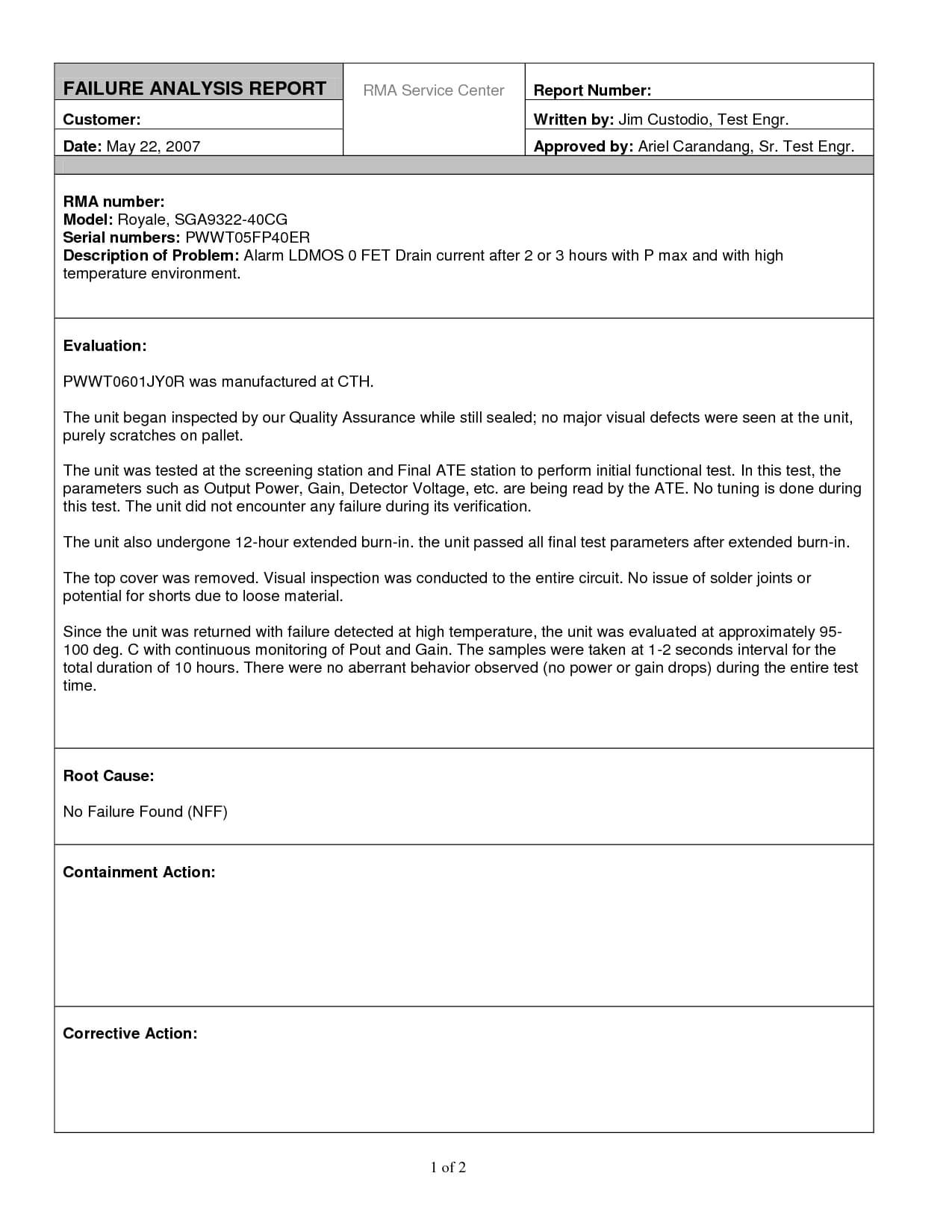 Excellent Failure Analysis Report Writtenjimcustodio34 For Failure Analysis Report Template