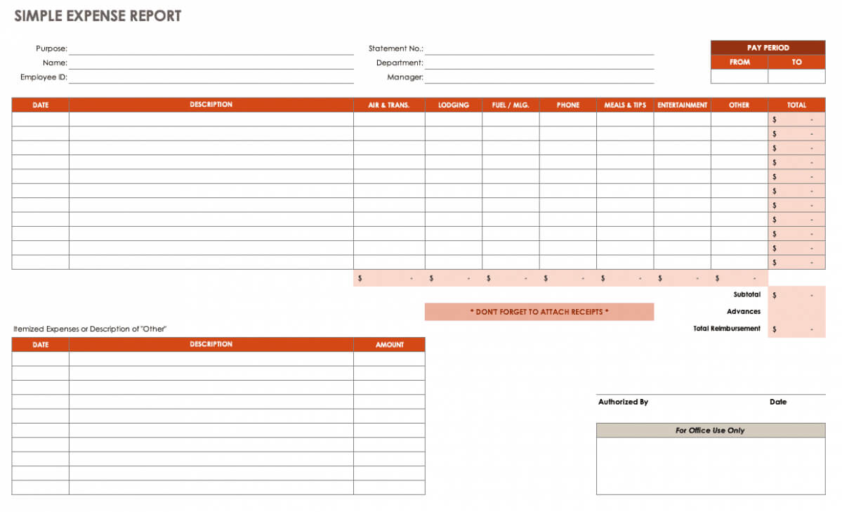 Expense Report Spreadsheet Regarding Expense Report Spreadsheet Template