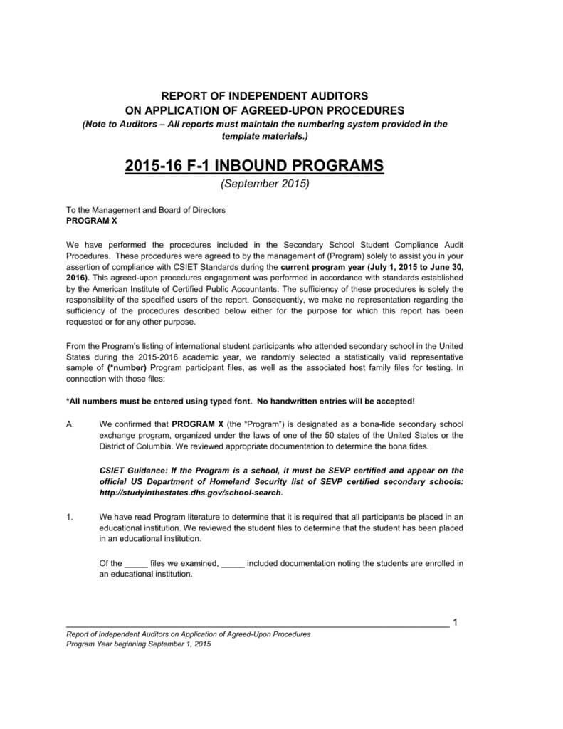 F 1 Compliance Audit Report Pertaining To Agreed Upon Procedures Report Template