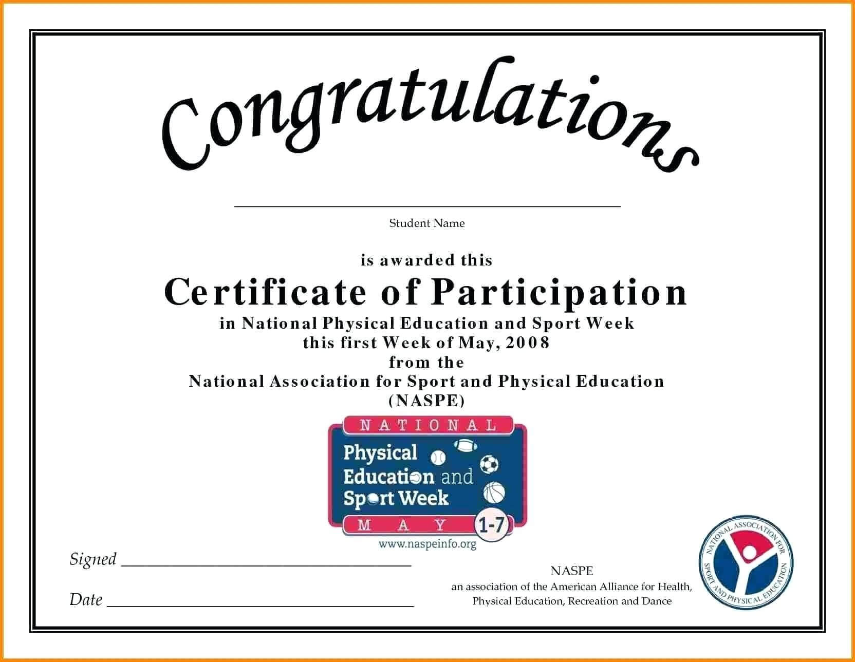 🥰free Printable Certificate Of Participation Templates (Cop)🥰 Throughout Congratulations Certificate Word Template
