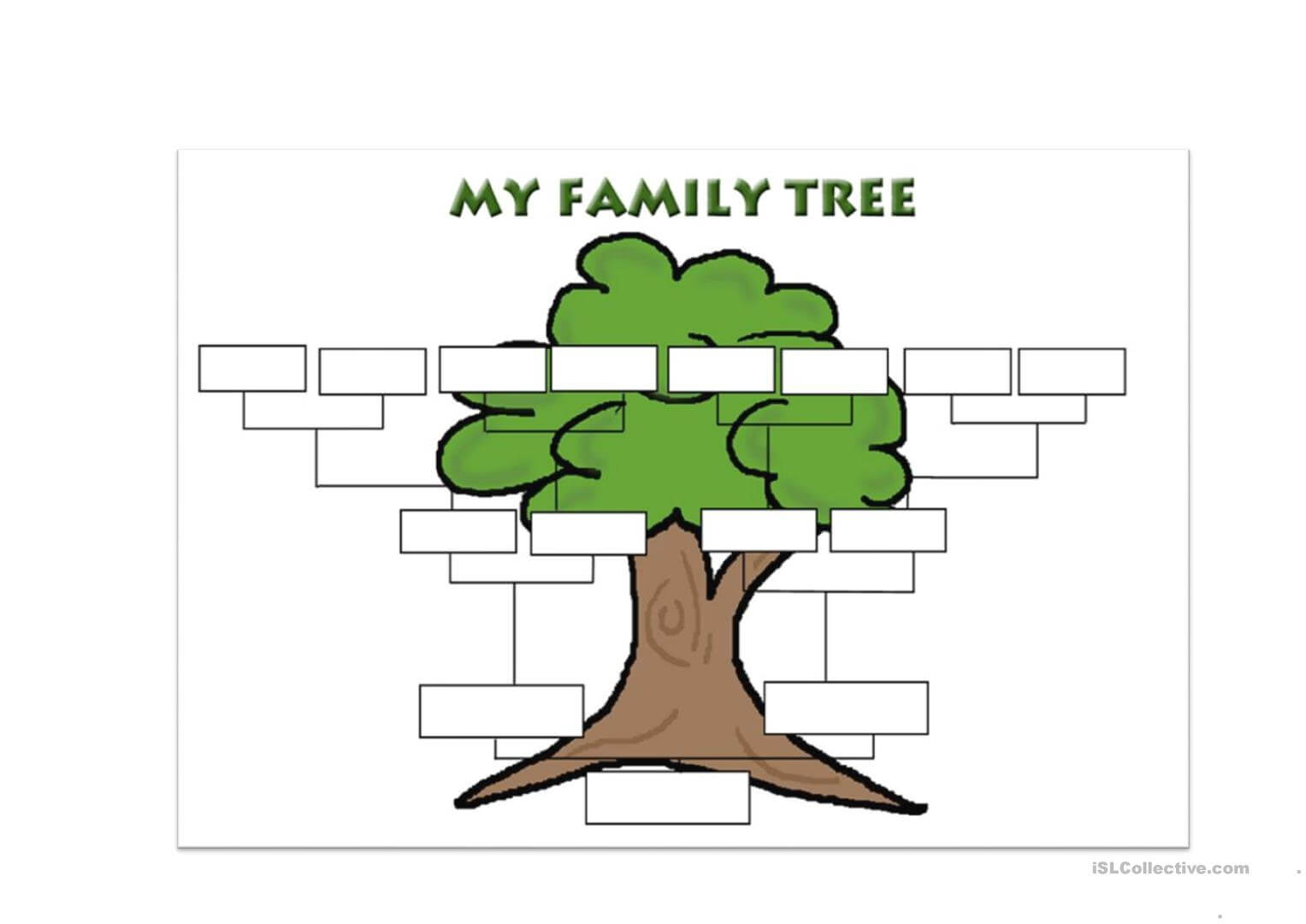 Family Tree Template - English Esl Worksheets With Regard To Fill In The Blank Family Tree Template