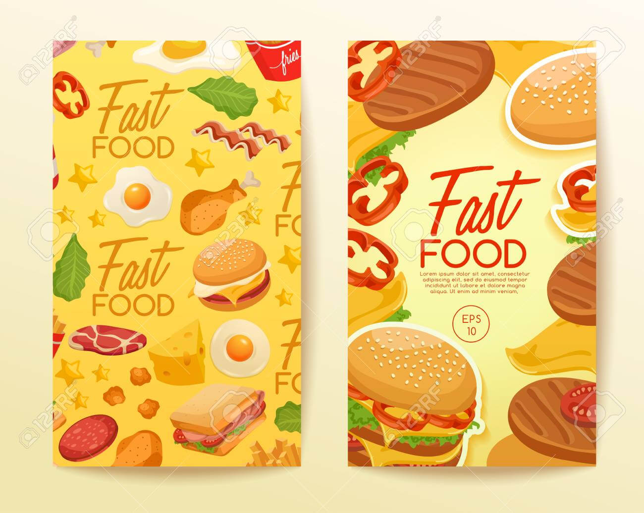 Fast Food Elements : Vertical Banner Template : Vector Illustration Pertaining To Food Banner Template