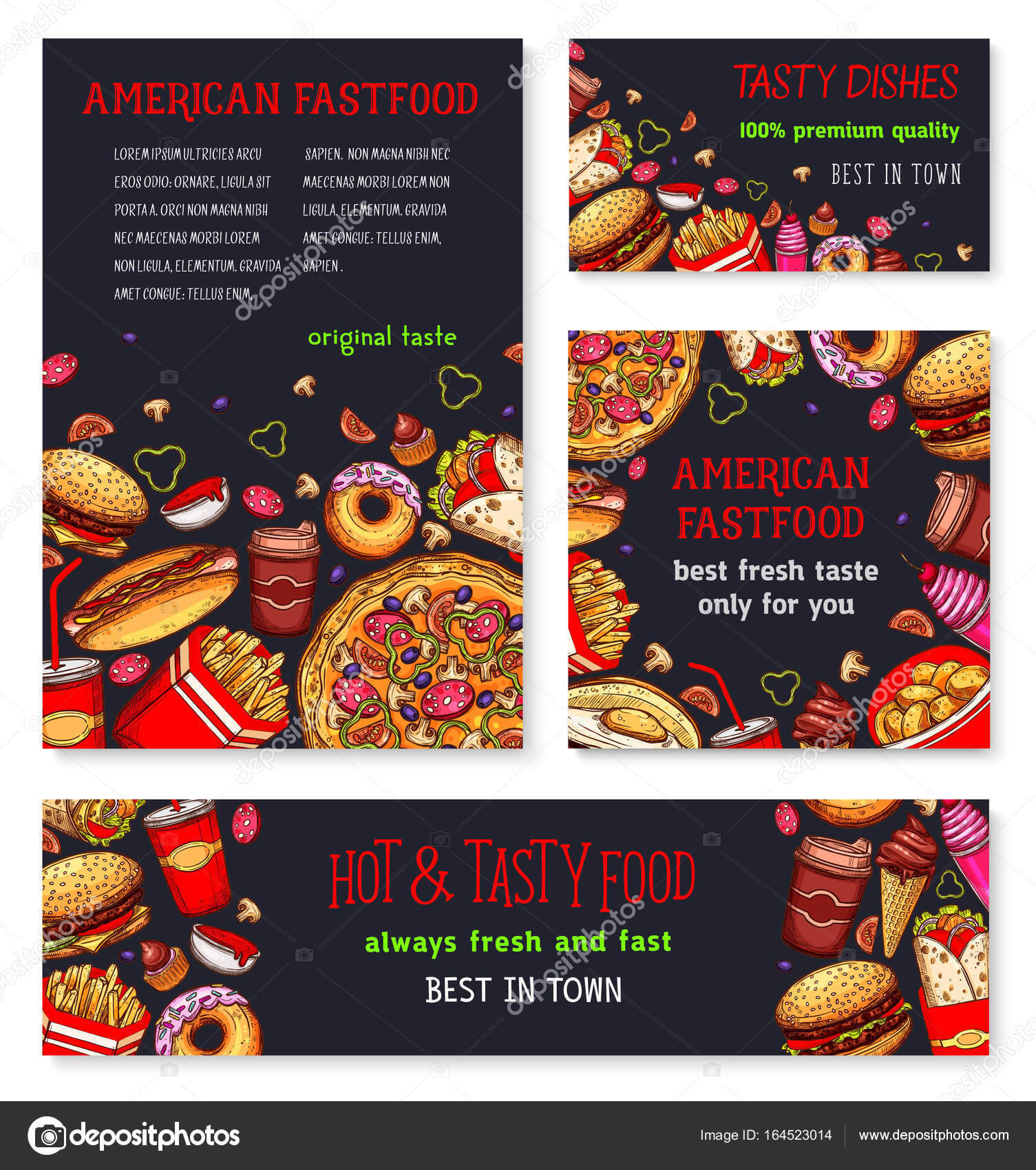Fast Food Meal For Restaurant Banner Template — Stock Vector Pertaining To Food Banner Template