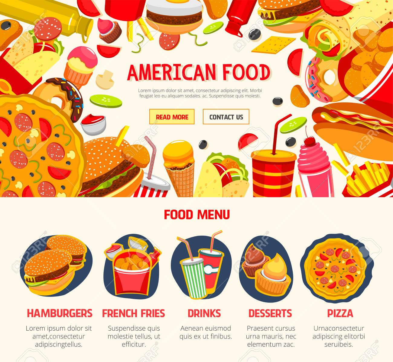 Fast Food Restaurant Menu Banner Template With Food Banner Template