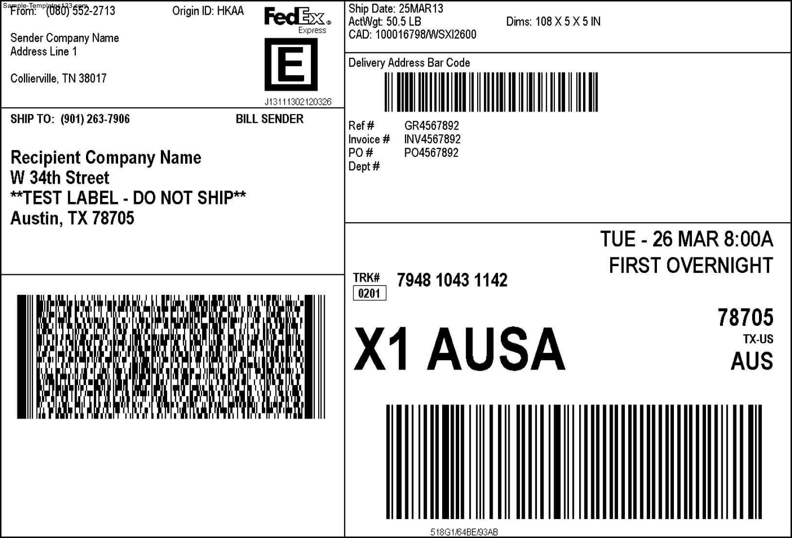 Fedex Shipping Label - Sample Templates - Sample Templates Pertaining To Fedex Label Template Word