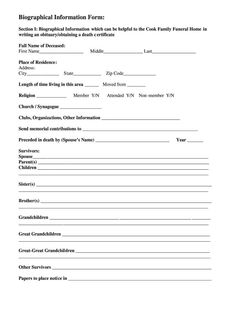 Fill In The Blank Obituary Template Pdf - Fill Online Throughout Fill In The Blank Obituary Template