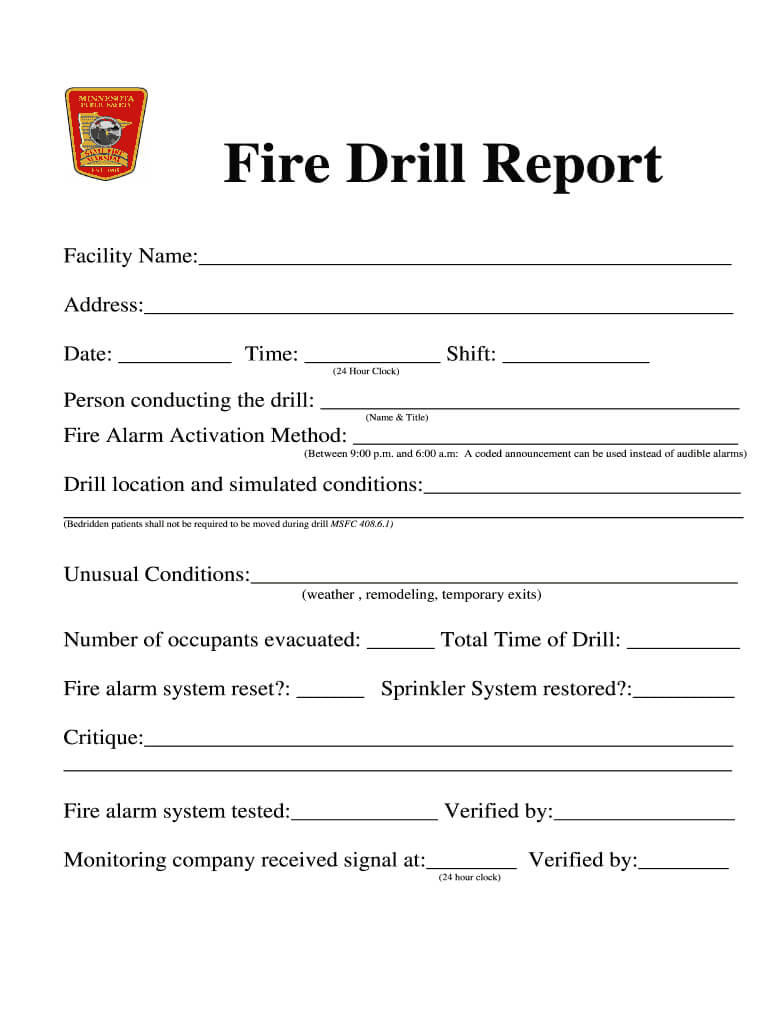 Fire Drill Report Template - Fill Online, Printable Pertaining To Emergency Drill Report Template