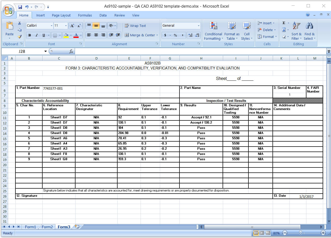 First Article Inspection Report Form (Download Free Sample With Regard To Part Inspection Report Template