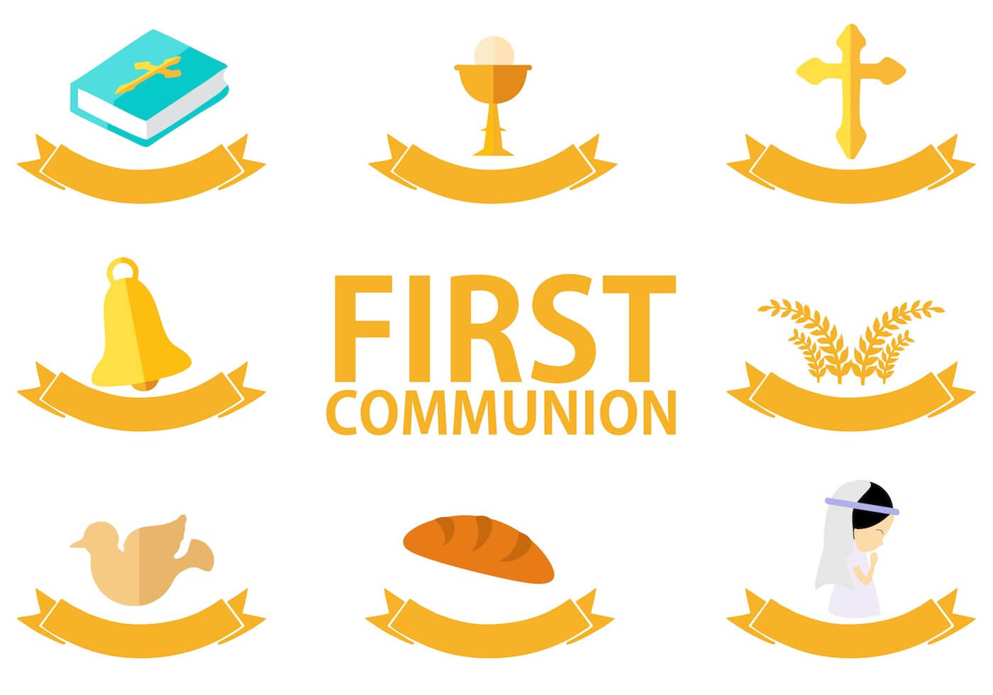 First Communion Template Free Vector Art – (25 Free Downloads) For Free Printable First Communion Banner Templates
