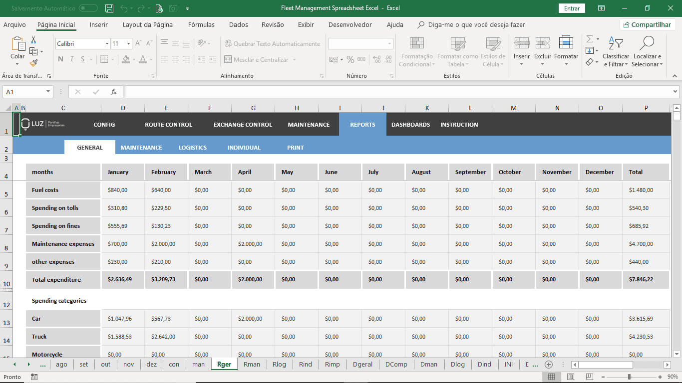 Fleet Management Spreadsheet Excel In Fleet Management Report Template