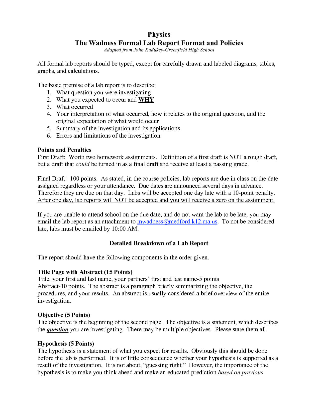 Formal Lab Report Template Physics : Biological Science With Physics Lab Report Template