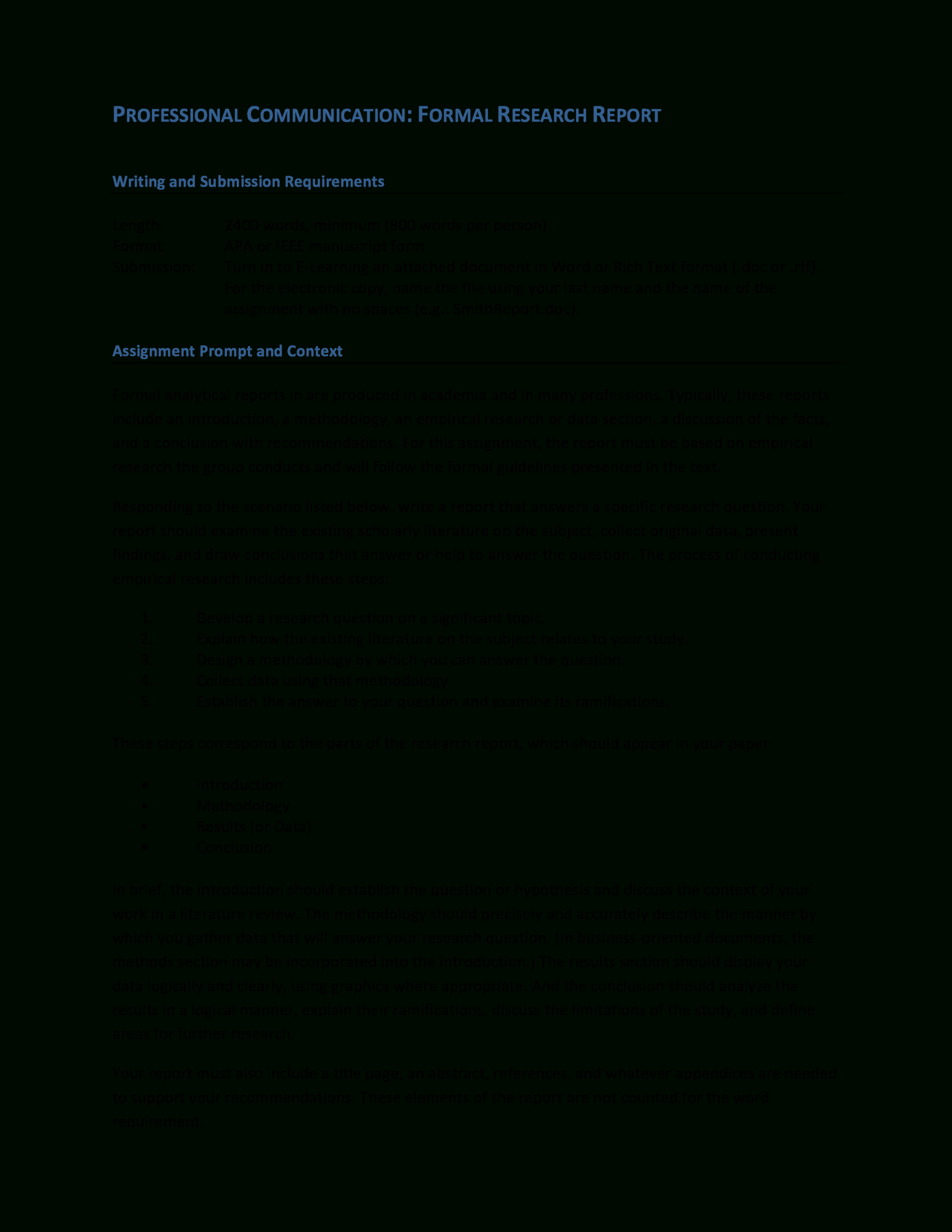 Formal Research Report | Templates At Allbusinesstemplates Intended For Research Report Sample Template