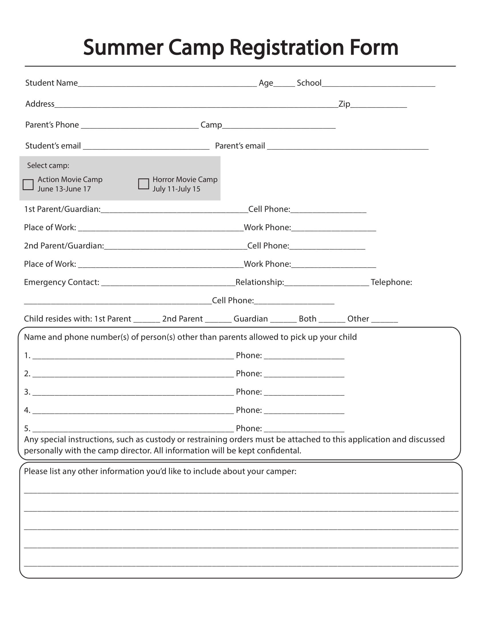 Free 10+ Printable Summer Camp Registration Forms In Pdf Intended For Camp Registration Form Template Word