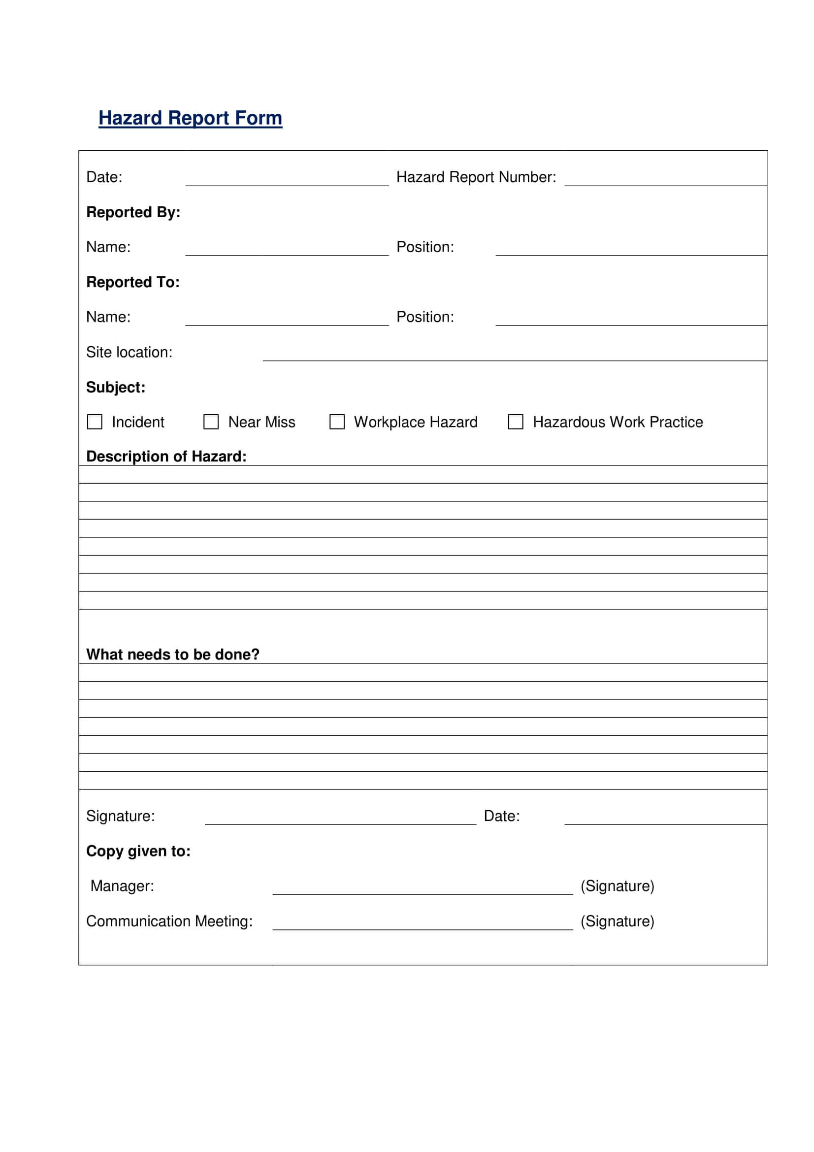 Free 13+ Hazard Report Forms In Ms Word   Pdf Throughout Hazard Incident Report Form Template