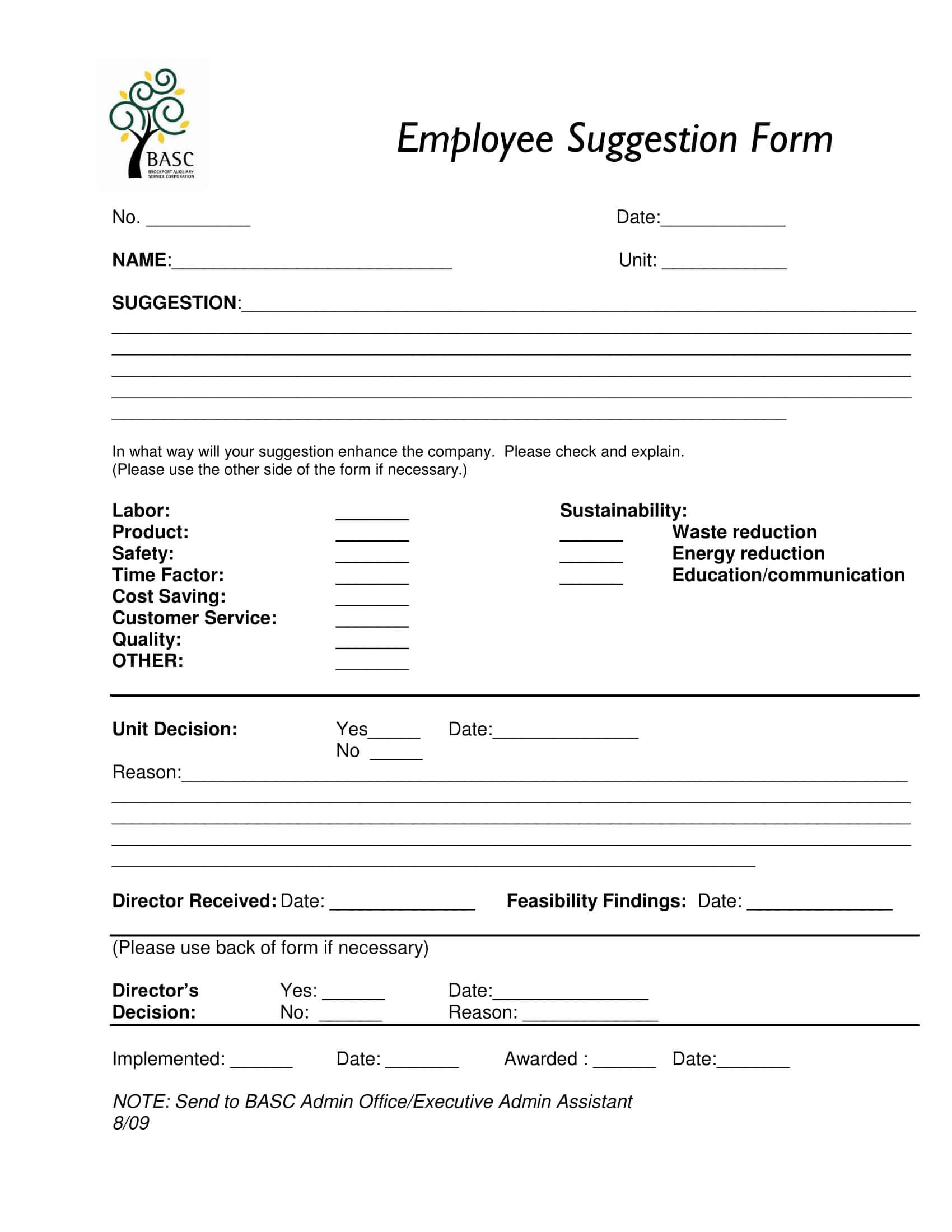 Free 14+ Employee Suggestion Forms In Ms Word | Excel | Pdf Pertaining To Word Employee Suggestion Form Template