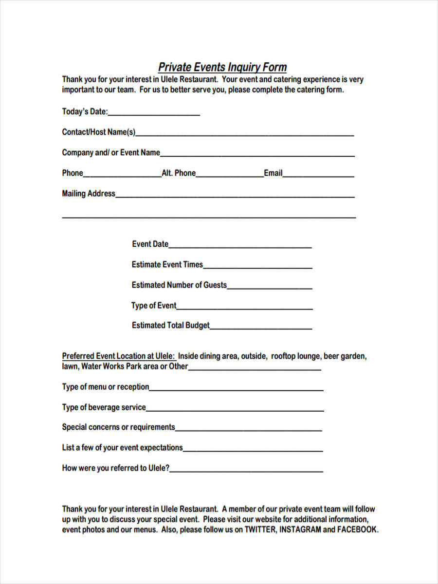 Free 6+ Event Inquiry Forms In Pdf With Regard To Enquiry Form Template Word