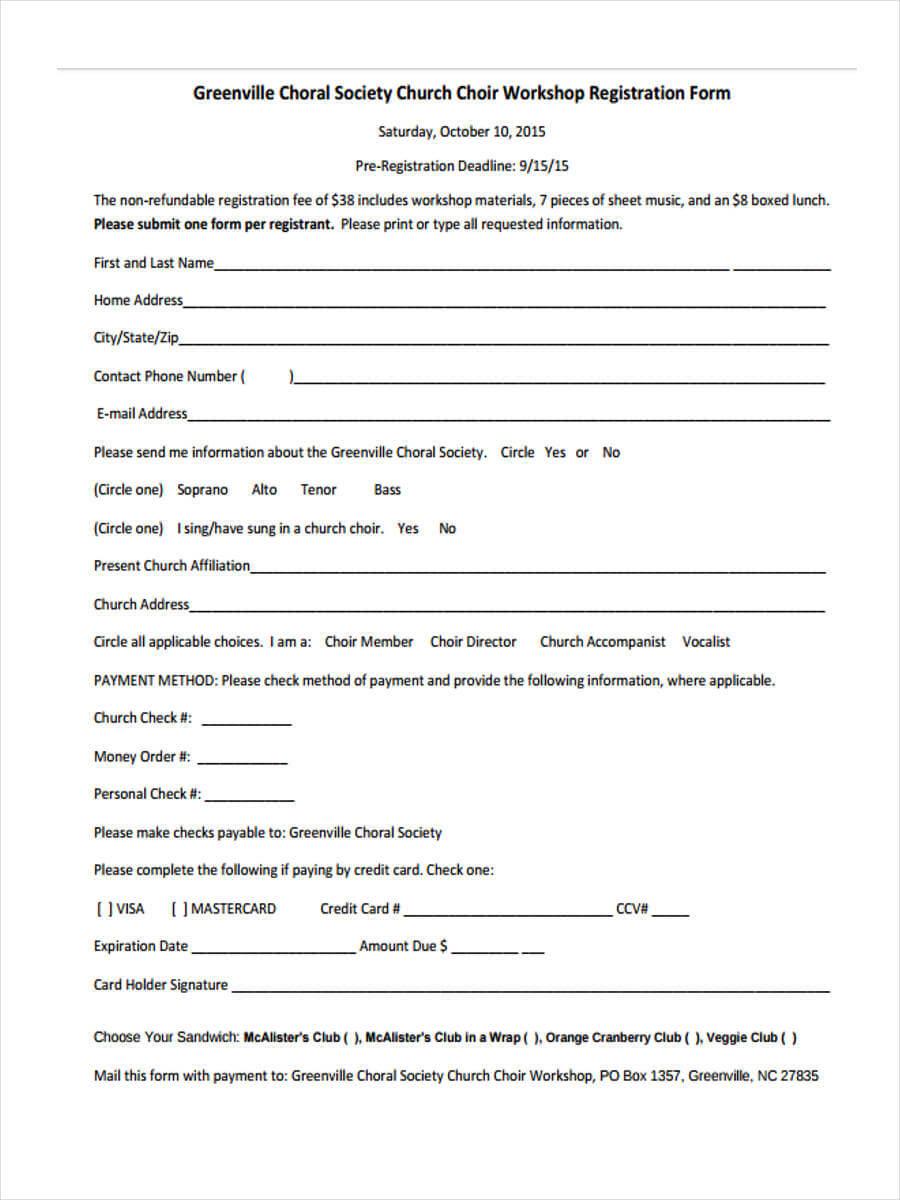 Free 9+ Workshop Registration Forms In Pdf For Seminar Registration Form Template Word