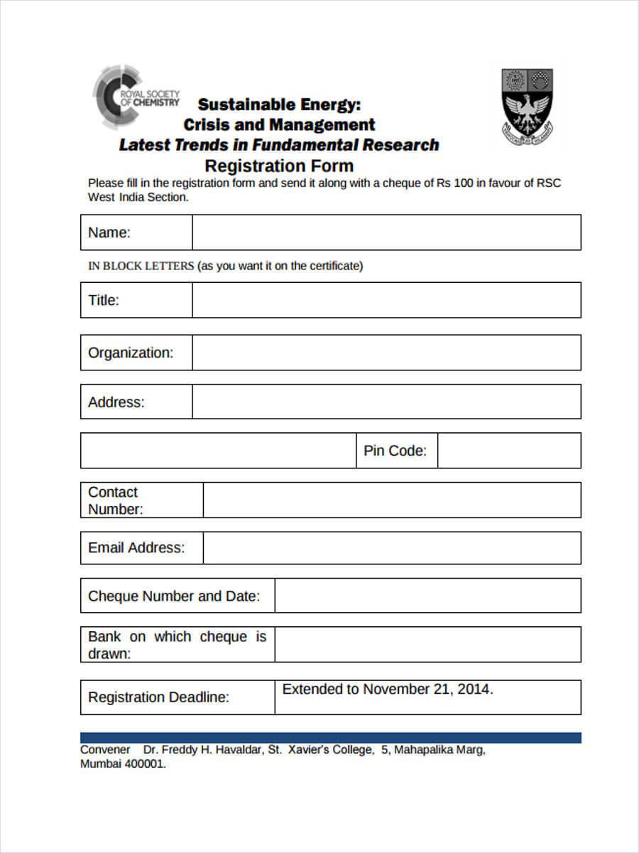 Free 9+ Workshop Registration Forms In Pdf Inside Seminar Registration Form Template Word