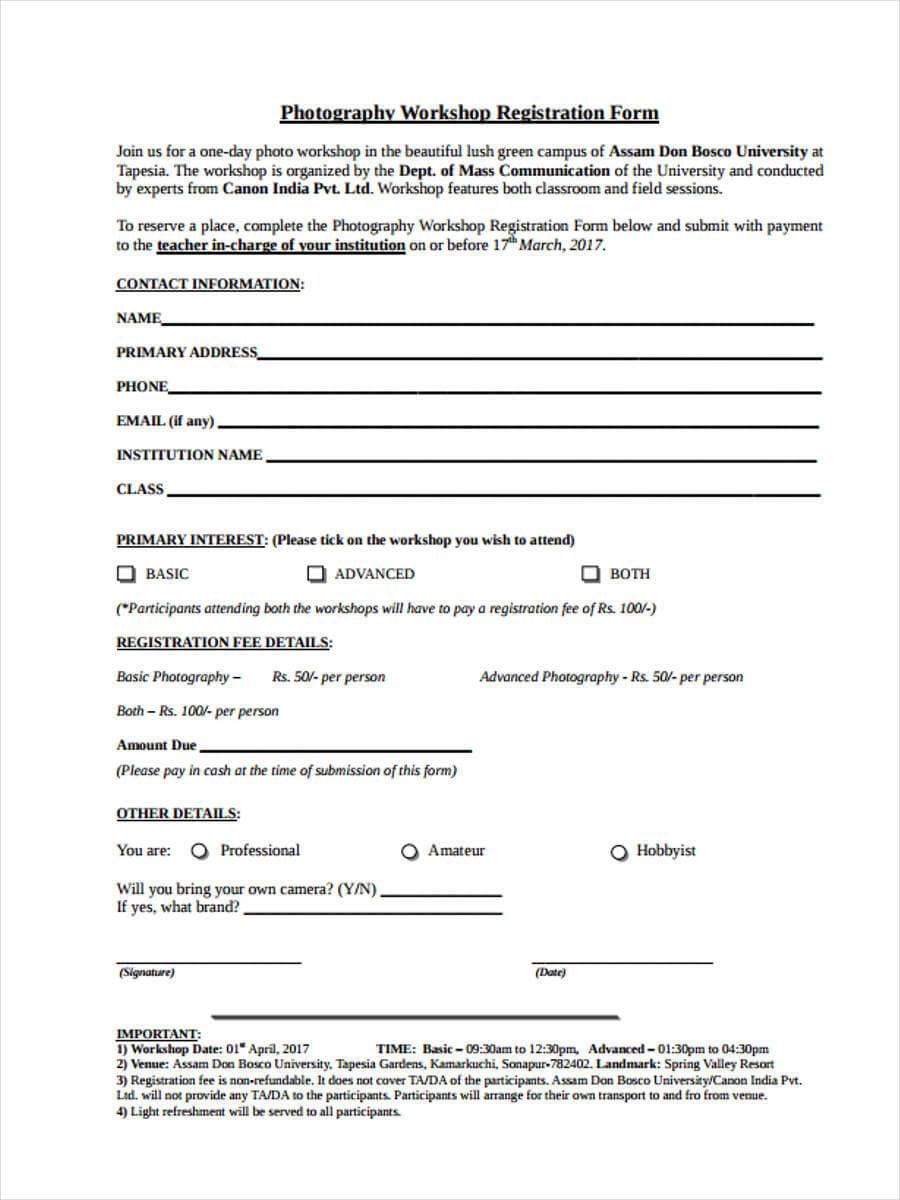 Free 9+ Workshop Registration Forms In Pdf Regarding Seminar Registration Form Template Word