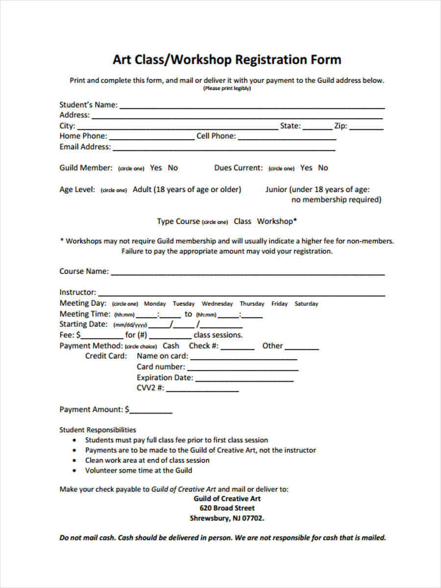 Free 9+ Workshop Registration Forms In Pdf With Seminar Registration Form Template Word