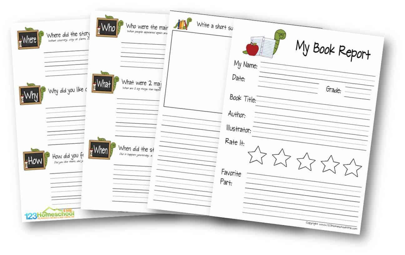 Free Book Report Template | 123 Homeschool 4 Me Inside Book Report Template Grade 1