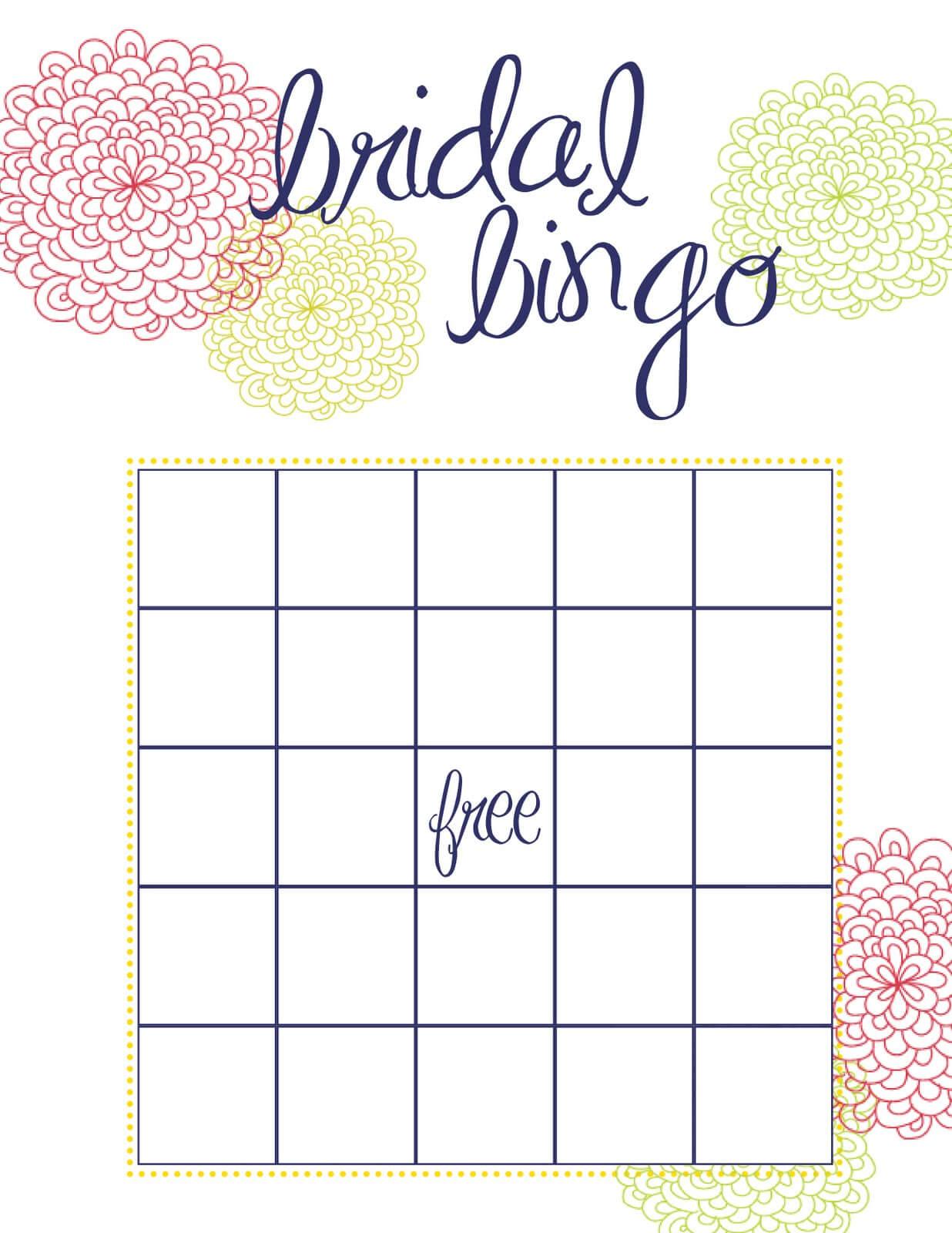 Free Bridal Bingo Template ] - Bridal Shower Bingo Template Throughout Blank Bridal Shower Bingo Template