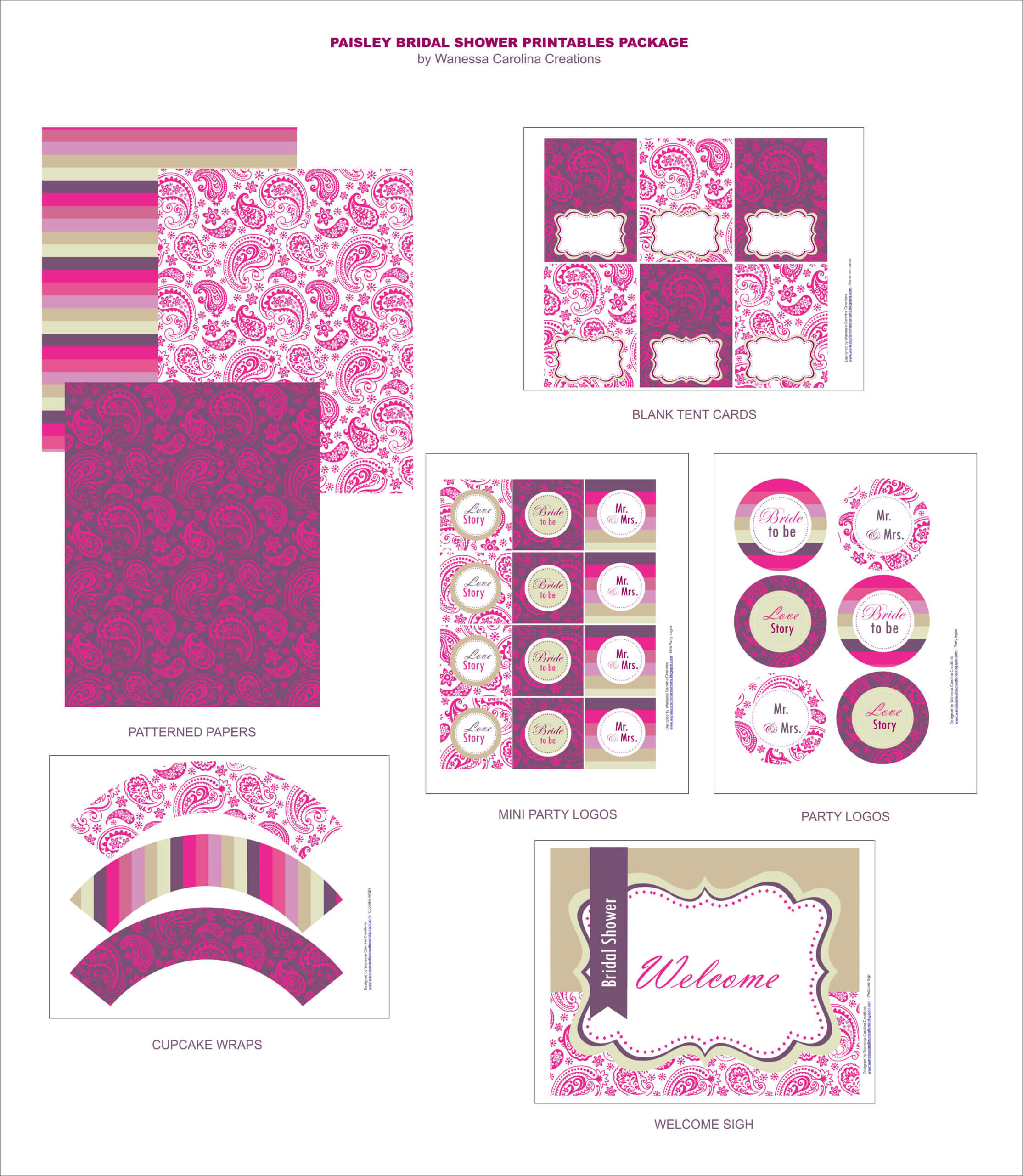 Free Bridal Shower Printables From Wanessa Carolina With Free Bridal Shower Banner Template