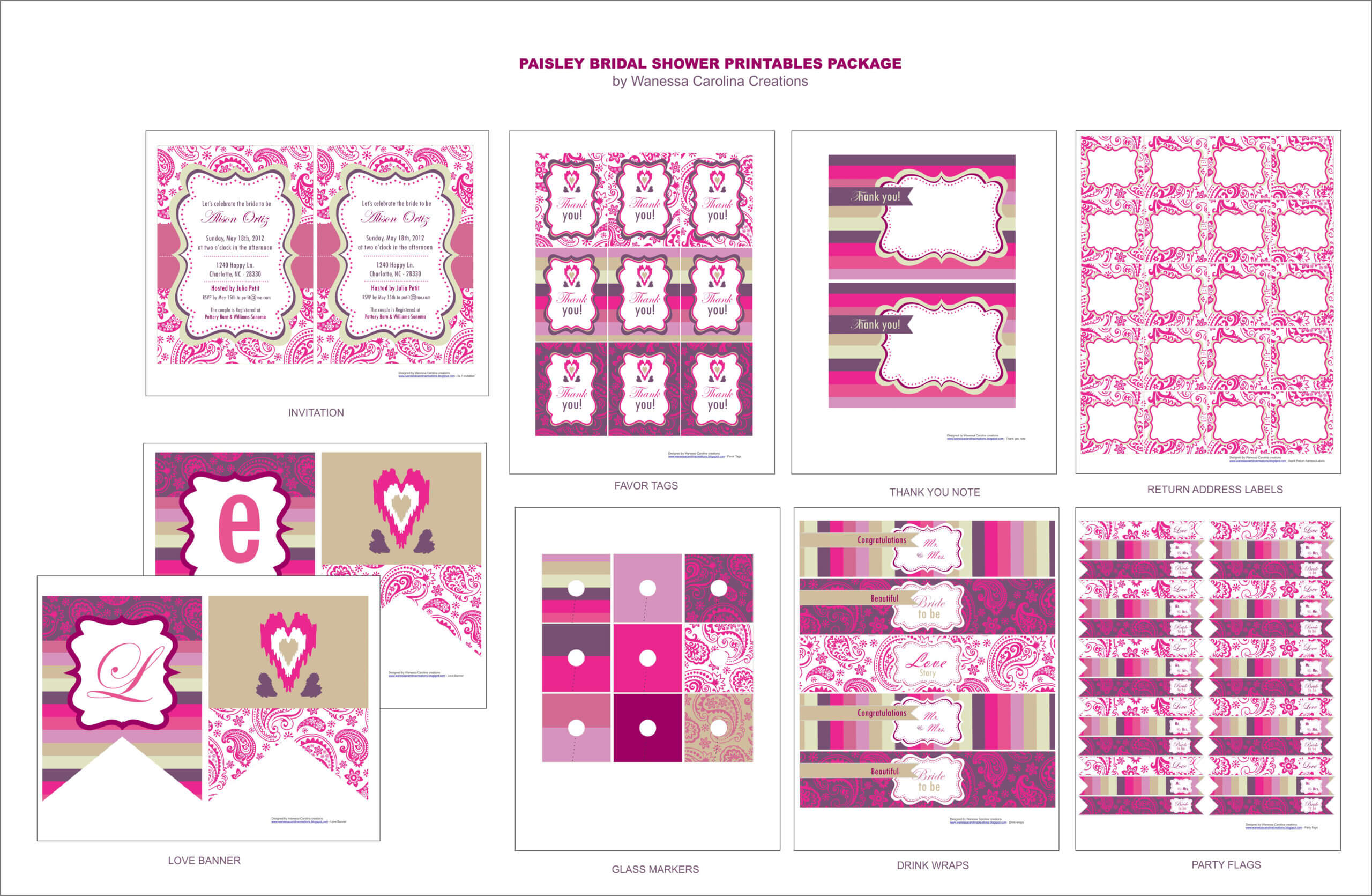 Free Bridal Shower Printables From Wanessa Carolina With Regard To Free Bridal Shower Banner Template