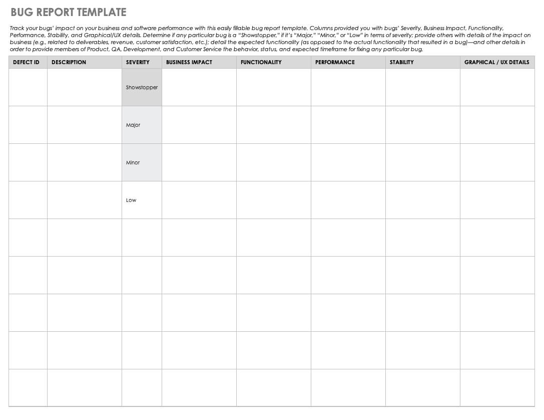 Free Bug Report Templates And Forms | Smartsheet Within Bug Summary Report Template
