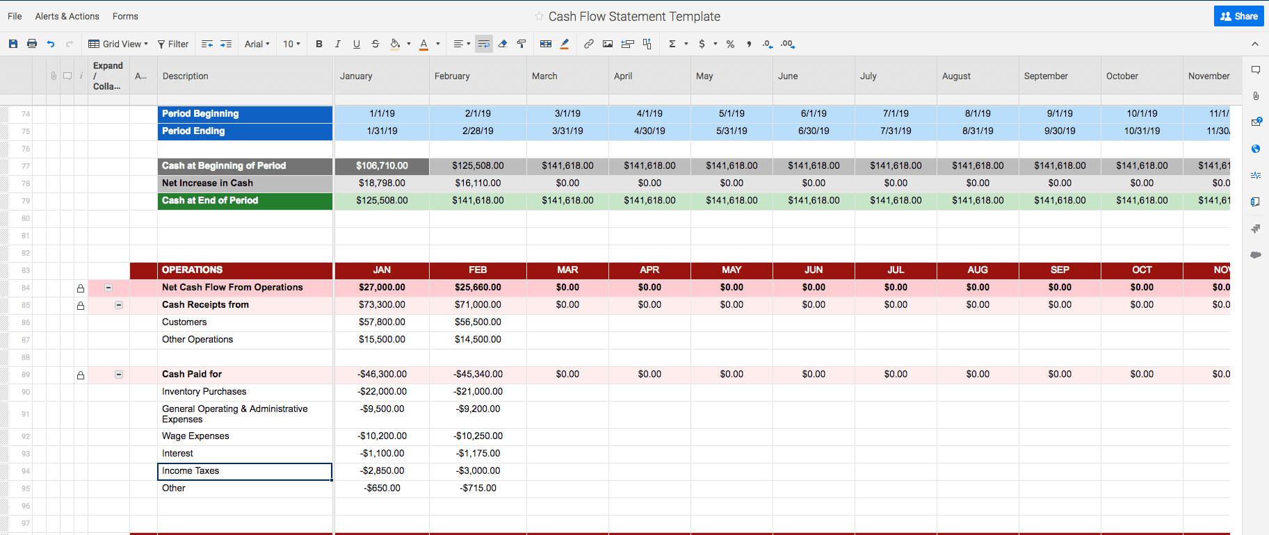 Free Cash Flow Statement Templates | Smartsheet Inside Cash Position Report Template