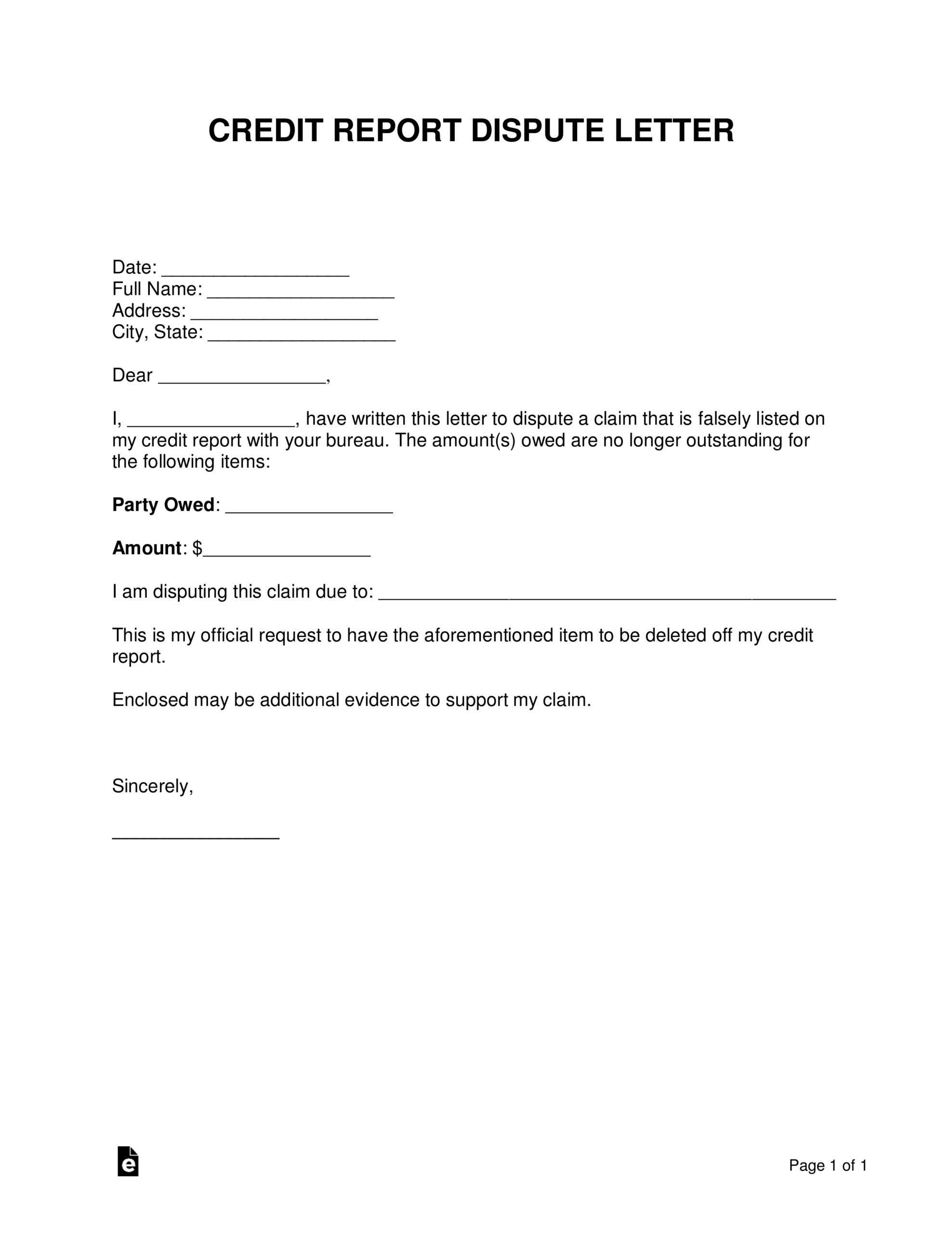 Free Credit Report Dispute Letter Template – Sample – Word Inside Credit Report Dispute Letter Template