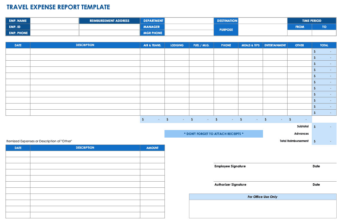 Free Expense Report Templates Smartsheet Inside Monthly Expense Report Template Excel