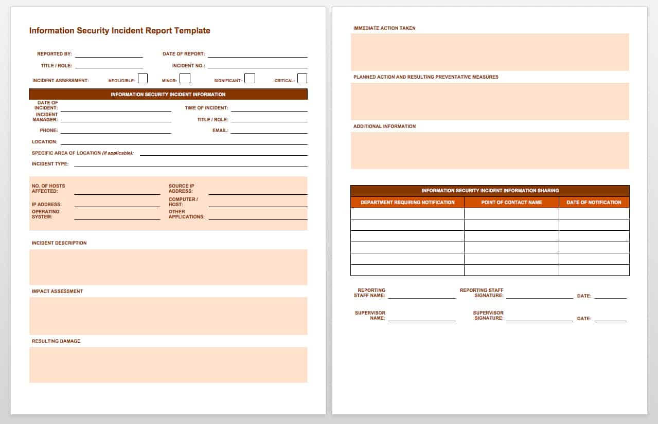 Free Incident Report Templates & Forms | Smartsheet In Equipment Fault Report Template